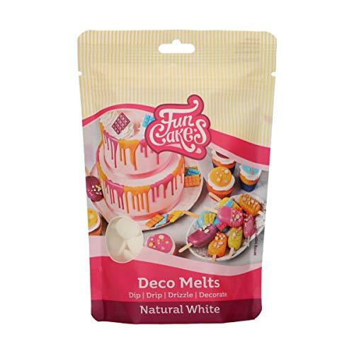 FunCakes Deco Melts natürliches Weiß Kein E171 - Tauchen, drippen, dippen und dekorieren! In der Mikrowelle schmelzen und in jede Form gießen, 250 g