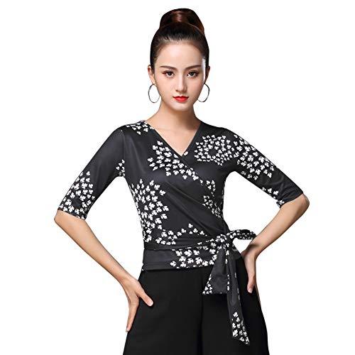 [L-night](エル‐ナイト)レディース ダンス用シャツ シンプル トップス 黒 中袖ダンスTシャツ フラダンス 社交ダンス ラテンダンス フラメンコ衣装 ダンスウェア 練習着 モダン 競技用 ベリーダンス ブラウス(2XL)