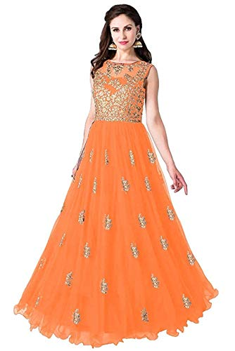 Varudi Fashion Multi Color Heavy Soft Net Fabric Embroidery Work Round Neck Sleevesless Long Semi Sticthed Gown For Women (Beli orange)