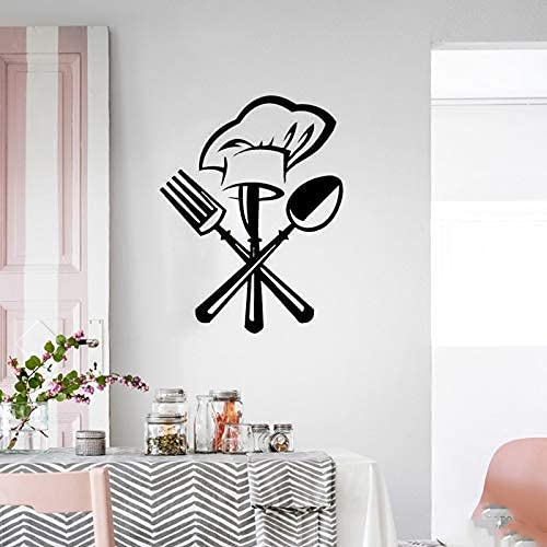 Wall Stickers,Cutlery Knife Fork Chef Hat Wall Sticker for Kitchen Restaurant Decoration Mural Decals Wallpaper Home Decor Stickers 42 * 36Cm