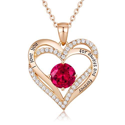 CDE Collares de Corazón para Mujer de Plata 925 Collares Colgante de Mujer Colgante de Diamantes Niña, con Caja Regalo, Regalo para Día de la Madre Esposa y Novia Carmesí
