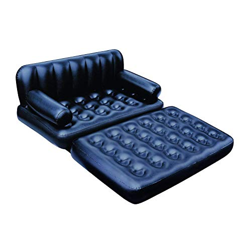 Xanadu 5 in 1 Inflatable Three Seater Queen Size Air Sofa Cum Bed with Pump Black Air Sofa Bed Couch with Free Electric Pump Any Time Use
