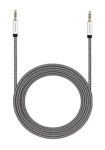 Ambrane Unbreakable 3.5mm Male to Male AUX Stereo Audio Cable, 1.5 Meter (5 Feet) - (ABCAX-10, Black & Grey)