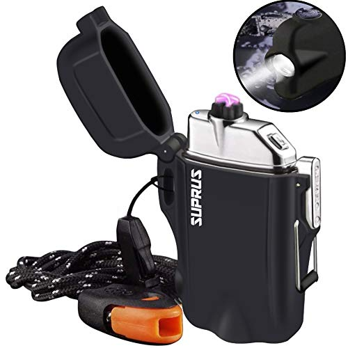 SUPRUS Waterproof Lighter Plasma Arc Lighter Rechargeable USB Lighters Flameless Dual Arc Plasma Lighter with Survival Emergency Whistles and Lanyard