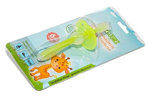 Erste Zahnbürste für Baby und Kleinkind aus Silikon mit Schutzring für eine gründliche Reinigung und Zahnfleischmassage (grün)