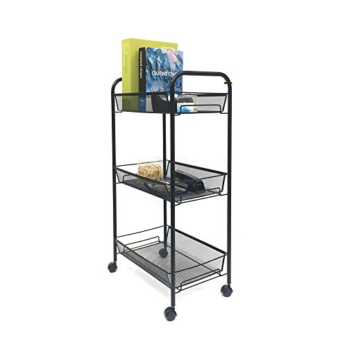 Mind Reader 3-Tier All Purpose Rolling Utility Cart, Books, Desk Supples, Office Supplies, Black