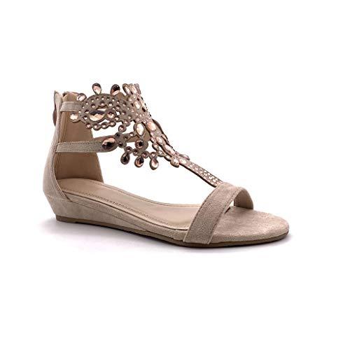 Angkorly - Damen Schuhe Sandalen - Flache - Offen - orientalisch - Diamant - Schmuck/Juwelen - Strass Keilabsatz 3 cm - Rosa Nude P216 T 37