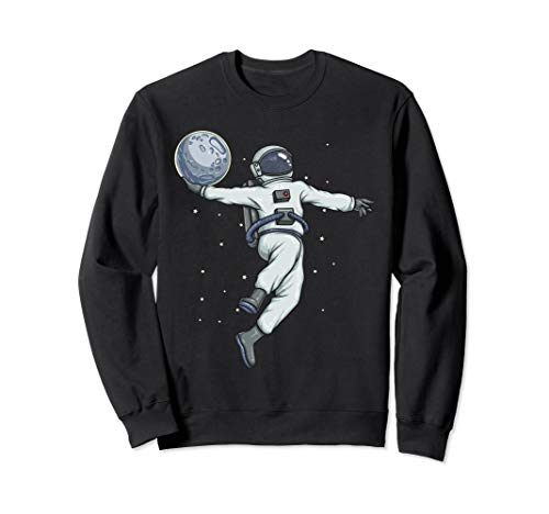 Astronaut Slam Dunks Moon in Outer Space - Kids Astronomy Sweatshirt