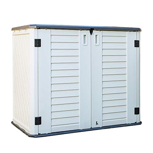ADDOK Outdoor Storage Shed Multi-Function Lockable Horizontal Storage Unit Weather Resistance Thick HDEP Resin Storage Cabinet for Backyards Patio Garden Ivory White27 Cubic Feet