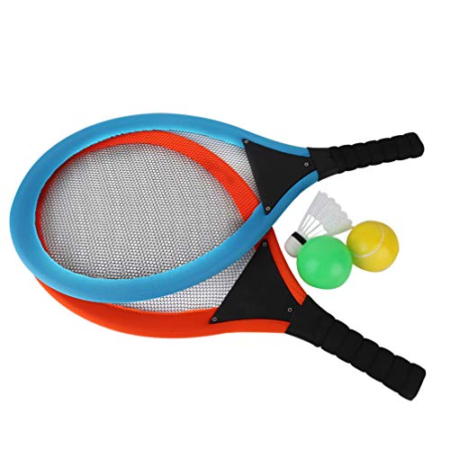 NUOBESTY 1 conjunto de raquete de tênis de praia com raquete de tênis para crianças, badminton, raquete de tênis, brinquedos de praia