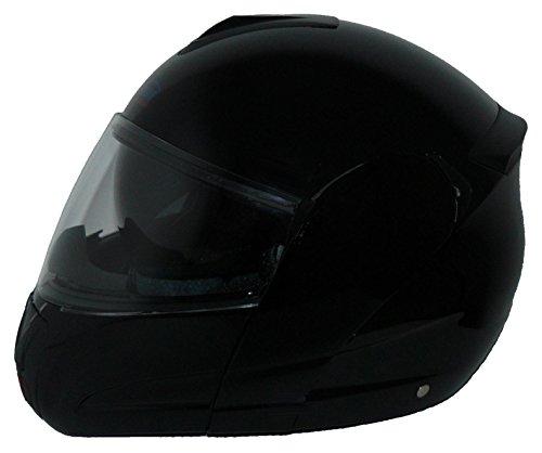 Protectwear Casco modular de moto con el visera solar integrado V210-GL negro, tamaño L
