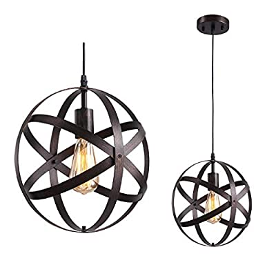 Industrial Pendant Light Fixture, Vintage Metal Spherical Hanging Ceiling Light, Adjustable Globe Chandelier Ceiling Lamp for Kitchen Island Dining Room