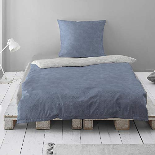 Irisette Uni Edel-Feinbiber Bettwäsche Feel Fischgrat blau-grau, 1 Bettbezug 155 x 220 cm + 1 Kissenbezug 80 x 80 cm