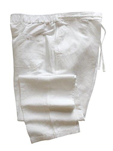 Wai Side Mens Linen Rayon Drawstring Pants White L