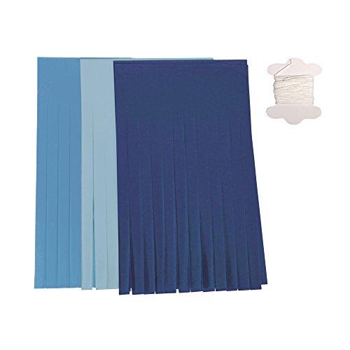 Rayher Hobby Rayher 87091000 papieren slinger, 12 kwasten, blauwtinten, 20 cm, 3 m, verschillende kleuren, SB-Btl 1 stuk