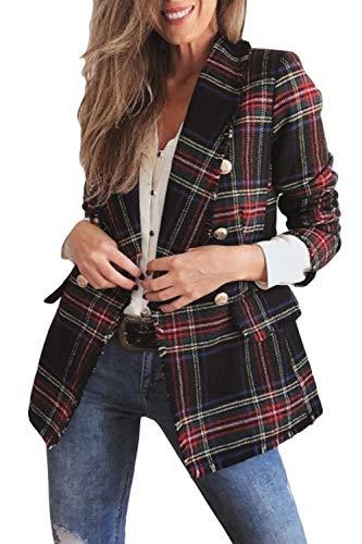 Abrigo De Lana para Mujer, Abrigo De Invierno, Casual, con Botones De Cuello, Ropa De Abrigo A Cuadros Rojo XL