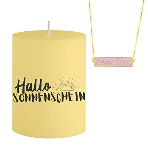 Colgante con Forma de Vela con Joyas y Mensaje Hallo Sonnenschein – Collar de Color Rosa y Dorado con Colgante Carpe Diem – Vela aromática con Aroma a limón – Idea