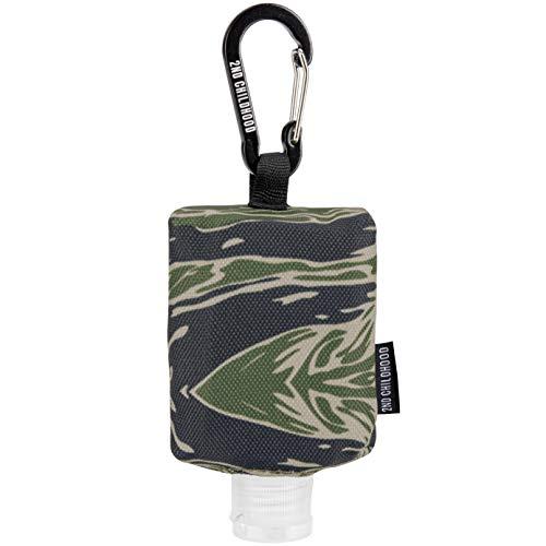 Travel Size Bottle Case and Carabiner Holder Carrier Bag - Portable Mini Waist Bag for Liquid Storage - Clip On Belt Loop, Backpack and Purse - Includes Empty Flip Cap 2 oz. Reusable Bottle (Camo)