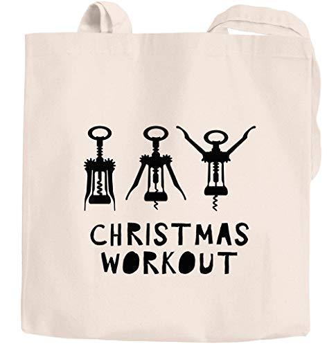 Moonworks® Jutebeutel bedruckt Spruch Christmas Workout Flaschenöffner Korkenzieher Wein trinken lustig Fun natur 2 lange Henkel