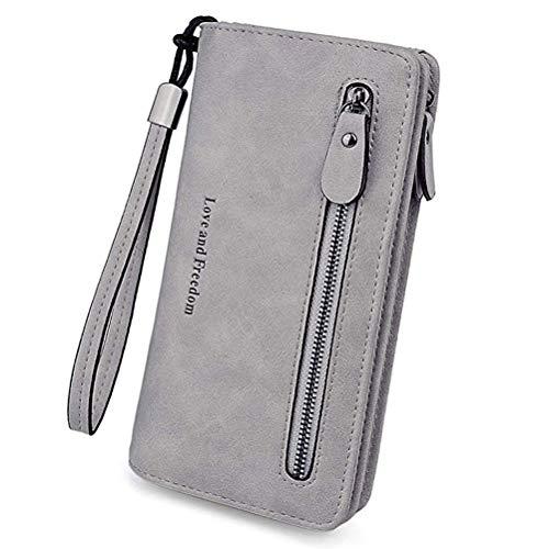 Damen Leder Geldbörse Lang Kreditkarte Portemonnaie Geldbeutel mit Kartenfächer Reißverschluss Münze Handyhalter für Frauen