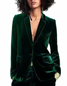 Lardy Women 1 Button Velvet Blazer Coat Slim Fit Casual Lapel Office Jacket Suit Large