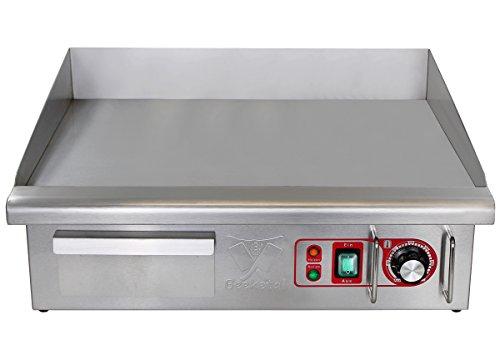 Beeketal 'BGP-III' Profi Gastro Gusseisen Grillplatte elektrisch mit 55 x 36,5 cm Grillfläche (glatt), stufenlos regelbar 50-300 °C (3000 Watt), Elektrogrill mit Spritzschutz, Fett Auffangbehälter