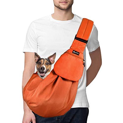 SlowTon Tragetuch Hund, Katze Haustier Hand Schleuderträger Schultertasche Verstellbare Gepolsterte Schultergurt mit Fronttasche hundetragebeutel Metro Outdoor (Orange)