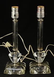 Vintage Glass Crystal Boudoir Table Lamp Set 1950s Hollywood Regency Stacked