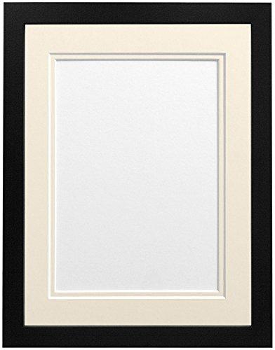 Frames By Post H7-fotolijst met witte passe-partout, breedte 25 mm, wit Ivoor dubbele houder 20 x 16 Inch Image Size A3 zwart