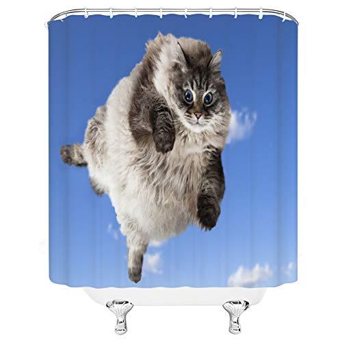 ZSYNB duschvorhang transparent Lustige Tier Duschvorhänge Tukan Adler Haustier Hund und Katze Badezimmer Dekor Home Bad Bathtu Polyester Stoff Vorhang Set