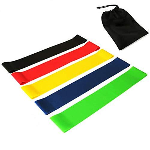 SANGSHI Bandas de resistencia [Juego de 5] bandas de fitness, bandas de entrenamiento, bandas de entrenamiento, bandas de resistencia, 100% látex natural para desarrollo muscular, pilates y yoga