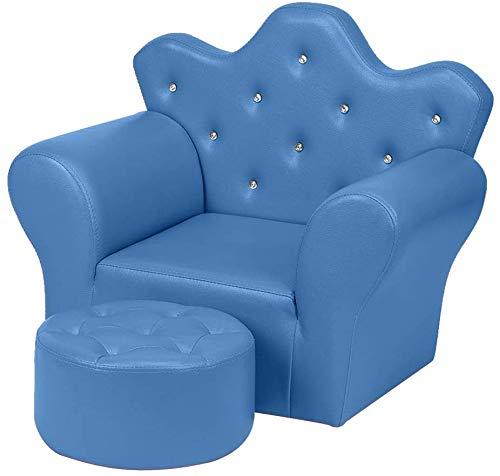 WDNMD Stylisches Mini-Sofa-Set für Kinder, aus Schwamm, PVC, Sessel, Stuhl, Kunstleder-Sitz, mit Fußhocker, zum Entspannen, Spielzimmer, Mädchen, Prinzessin (Farbe: blau)