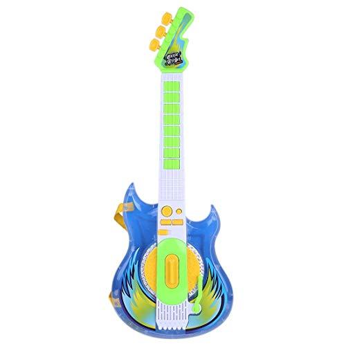 GST Instrumentos de Cuerda para niños Guitarra eléctrica para niños con micrófono, Vidrio (Color: Rosa, tamaño: 57 x 22 x 5,5 cm) (Color : Blue+Green, Size : 57 x 22 x 5.5cm)