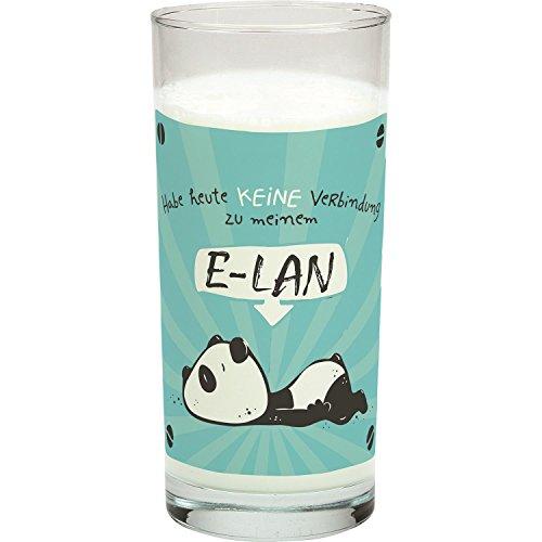Hope und Gloria 45666 Trink-Glas mit Tier-Motiv Panda-Bär, mit Spruch Habe heute keine Verbindung zu meinem E-LAN, Wasser-Glas, 50 cl