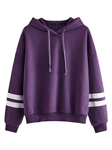 SweatyRocks Sweatshirt Pullover Fleece Drop Shoulder Striped Hoodie Purple X-Large