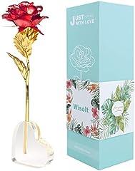 Wisolt 24K Gold Rose, Nuevo Upgraded Long Stem Gold Foil Rose con Soporte en Forma de corazón, Unique Gifts for Her, Niñas, Esposa, Mamá(Rojo)