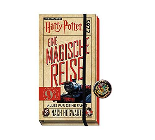 Buchspielbox Harry Potter: un viaje mágico – todo para tu viaje a Hogwarts + botón de Harry Potter, set de viaje para niños a partir de 9 años.