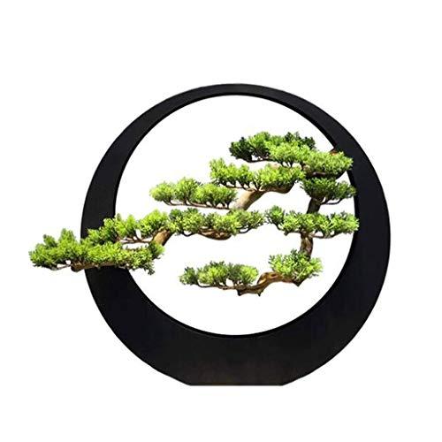 Decoración de la oficina en casa del jardín Estilo chino Nueva Luz de lujo artista casa decoración Zen Adornos artificial de bienvenida de plantación de pino Hierro forjado Bonsai Sala de estar Porche