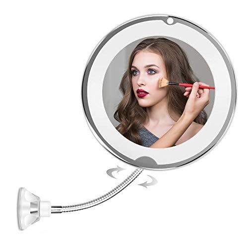 Miroir de Maquillage Lumineux LED avec Ventouse et Col De Cygne Flexible Réglable à 360 ° Miroir Grossissant Lumineux Miroir Cosmétique à LED pour Maison Salle de Bains