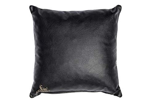 Centaur - Cuscino decorativo in pelle 40 x 40 cm per divano o camera da letto nero - Cuscino in vera pelle Cuscino look divano in pelle