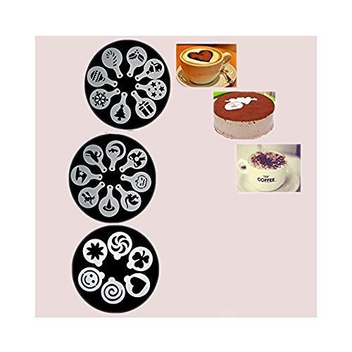 66 Piezas Decoracion de Cafe Plantillas Espuma Latte Art Barista Plantilla Plantillas de Decoración de Pasteles, Reutilizables, para Decorar Pastel de Cupcake de Avena Capuchino Chocolate Caliente