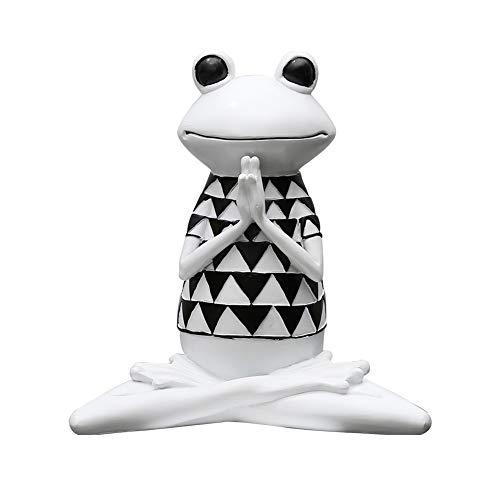 TOPofly Rana Yoga,Figura de Rana Yoga de Resina Estilo de Negro y Blanco Decoración del Hogar Mesa de Modelo de Rana Yoga Estilo A