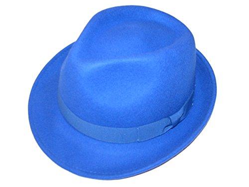 Major Wear Unisexe Bleu 100% Laine en Feutre Fedora Chapeau avec Bande – 4 Tailles - Bleu - Large