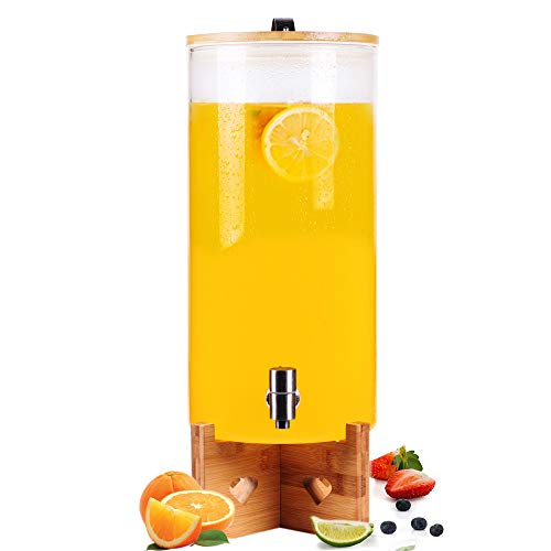 3 Gallon Glass Drink Dispenser with Stainless Steel Spigot, Wooden Stand, 11L Glass Beverage Dispenser with Airtight Bamboo Lid for Iced Tea, Water, Juice