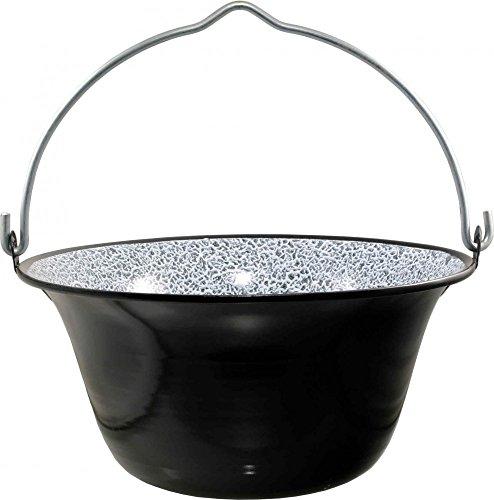 Best Sporting outdoor ketels emaille golasch/eenpanketel, grootte van 6-40 L, zwart, maat: 16 L