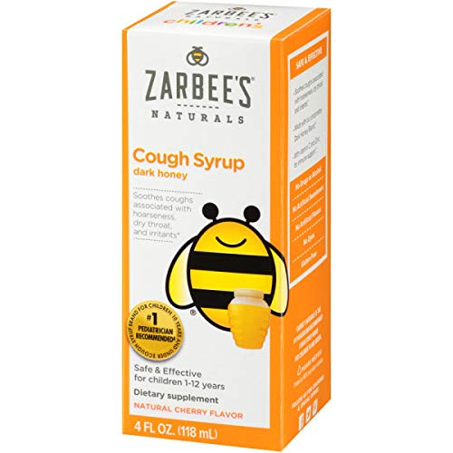 Zarbee's Naturals Children's Cough Syrup with Dark Honey, Natural Cherry Flavor, 4 Ounce Bottle