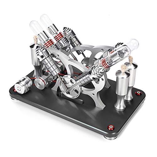 Trueornot Stirlingmotor Bausatz, 4-Zylinder Parallel Micro External Combustion Engine Modell, Sterling Engine Motor Basis Wissenschaft Pädagogisches Modell
