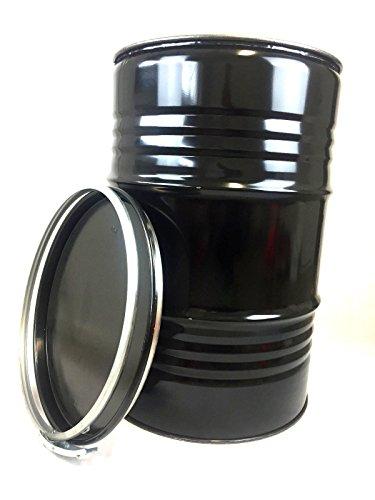 Srm - Design Metallfass 210 Liter Blechfass Fass Ölfass Tonne mit Spannring und Deckel Schwarz NEU