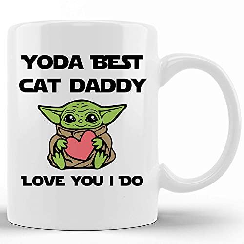 Novedad de cerámica tazas de café Yoda Best Cat Daddy Mug Cat Owner Gift Ideas Funny Tea Cup Funny Words Gift Present Mug for Christmas Thanksgiving Festival Friends