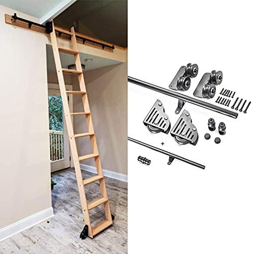 Juego completo escalera rodante de3.3pies a 20pies(sin escalera)hardware granero deslizante extensión móvil de tubo redondo para biblioteca/loft/hogar/interior/librería con ruedas rodillo de piso